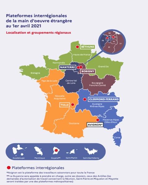Carte des plateformes interrégionales de la main d'œuvre étrangère au 1er avril 2021