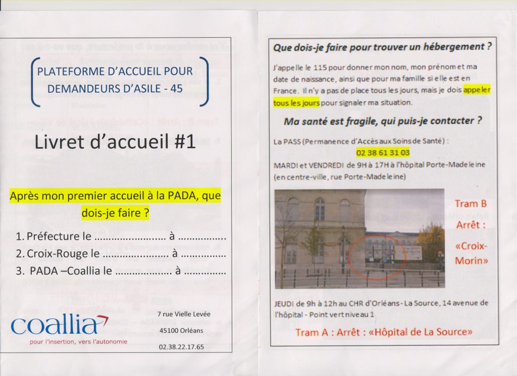 Welcome booklet of the SPADA in Orléans