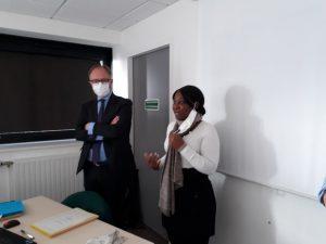 Ludovic Guillaume, secrétaire général de la préfecture d'Ille-et-Vilaine, et Émilie Vitel, directrice territoriale adjointe de l'OFII à Rennes
